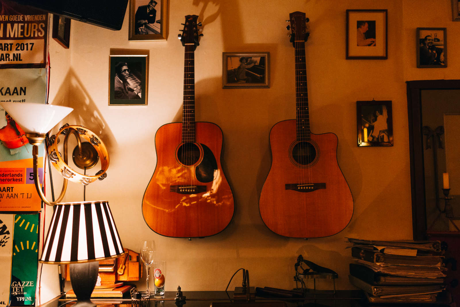 guitars hanging on the wall